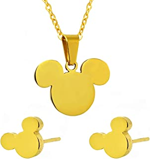 ERLUER Mouse Mickey Jewelry Set for Women Necklace Earrings Sets Stainless Steel Crystal Girls Fashion Gift