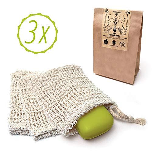 Nature Nerds - bolsita de jabón de sisal (set de 3), bolsita de jabón - Sin plástico e ideal para residuos de jabón