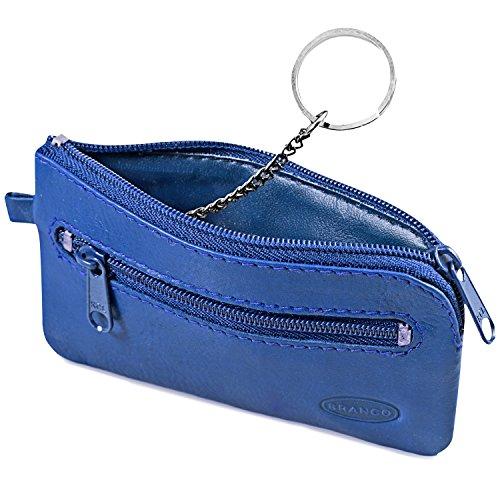 Großes Schlüsseletui/Schlüsselmäppchen aus Leder, für Damen und Herrn, Azur-Blau, Branco 018