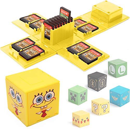 KUEEN Funda para Almacenamiento de Juegos, para Nintendo Switch con hasta 16 Juegos de Nintendo Switch Organizador de Tarjeta de Juego Contenedor de Viaje (Spongebob Yellow)