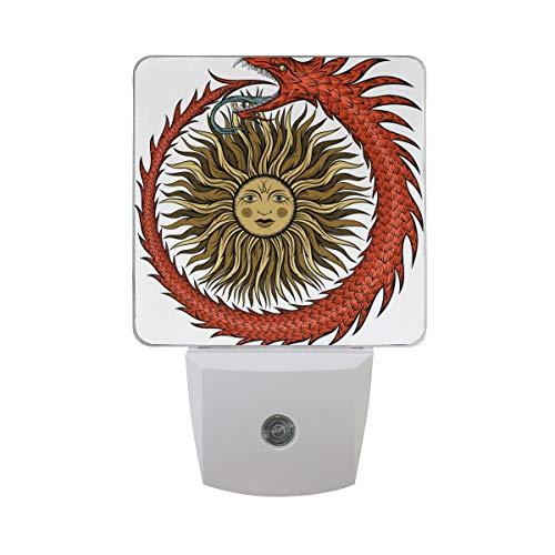 Ahomy LED-Nachtlicht, antikes ägyptisches Sonnenlicht mit Lichtzelle, Lichtsensor für die Dämmerung bis zum Morgengrauen, 2 Stück