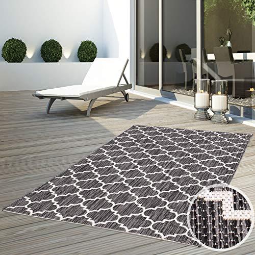 CC Teppich In-Outdoor Wetterfest Schwarz-Weiß Grau 120x170 cm Oeko-Tex Standard Marokkanisches Design 100% Polypropylen Allergiker geeignet
