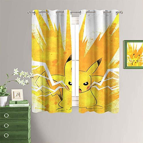 MRFSY Cortinas con ojales, aislamiento térmico y eficiencia energética, con ojales, diseño de monstruo de Pokémon, para sala de estar, 182 x 153 cm