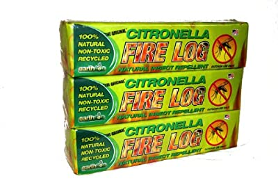 Earthlog, EC1000 Citronella Fire Log, Manufactured Anti-Mosquito Fire Log, 3Pack,Yellow and Green, 13X9.75X3.25