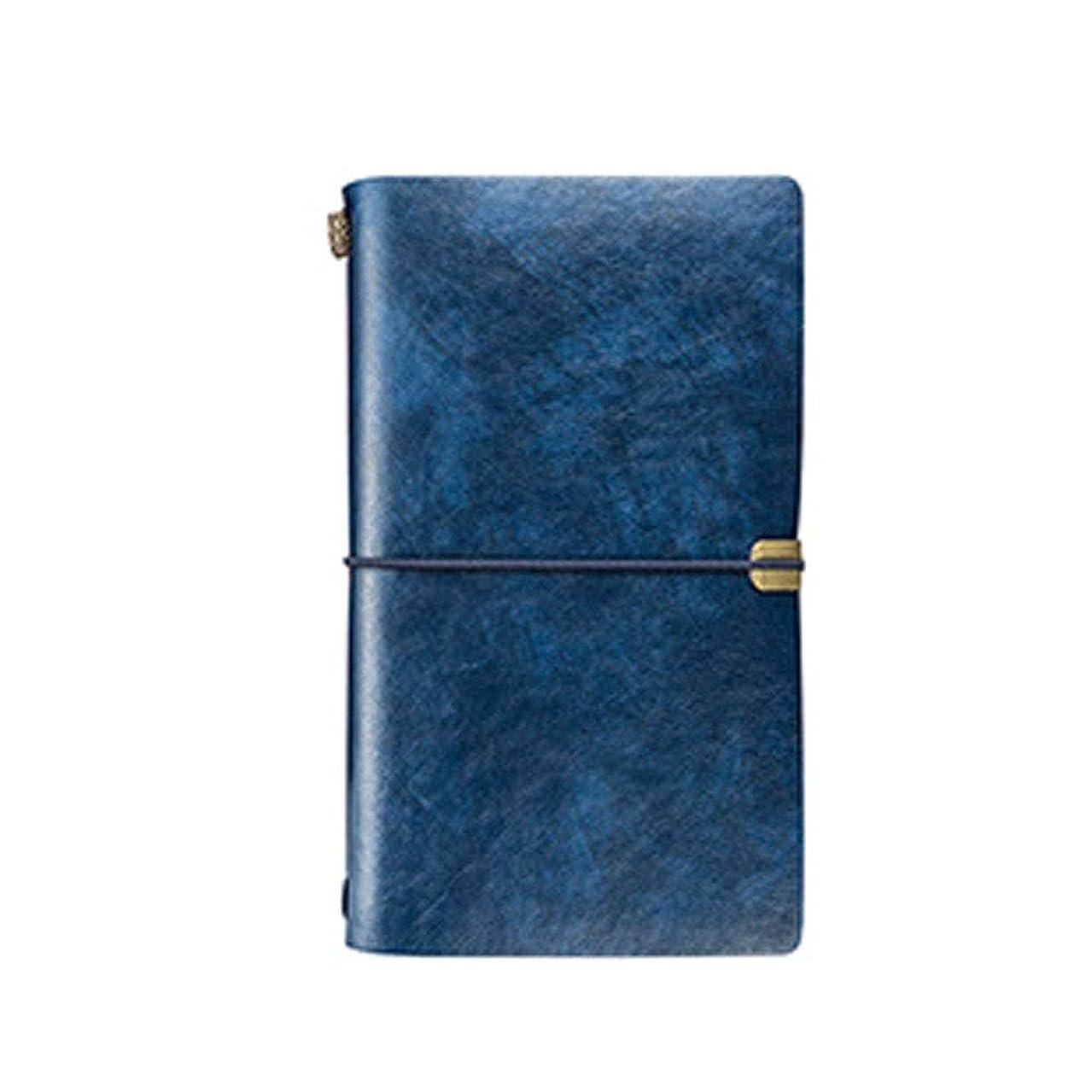 クリエイティブヴィンテージルーズリーフノートブック、A6オフィスノートブック、多機能ポータブルトラベルアカウントブック、結束ローププラン日記、グリーン/ブルー/ブラウン/オレンジ、高品質 (Color : Blue)