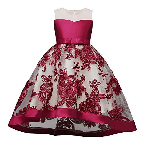Proumy ◕ˇ∀ˇ◕Baby Kleid Spitze Prinzessin Taufe Cocktailparty Blume Bowknot Mädchen Prinzessin Kleid Brautjungfer Pageant Kleid Geburtstag Party Brautkleid (rot,3T)