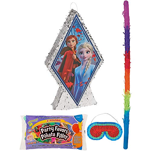 Party City Giant Pinata Kit with Candy and Favors, Frozen 2 Party Supplies, with Pinata, Bat, Blindfold, Candy, Favors