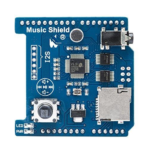 pzsmocn Venel Music Shiled Music Board Module with TF Card Slot Maker MP3/MP4 Shield Arduino Compatible