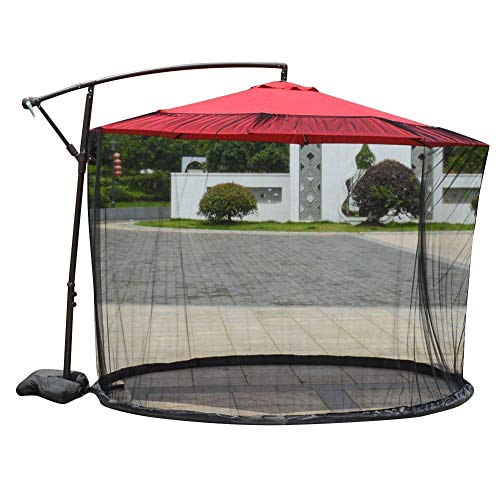 juman Patio Umbrella Mosquito Netting, Outdoor Garden Umbrella Table Screen Parasol Mosquito Net Cover Zippered Mesh Enclosure Cover for Outdoor Garden Yard Camping