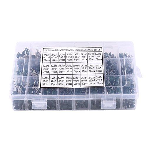 660pcs 24 Valores Condensadores de Película de Poliéster