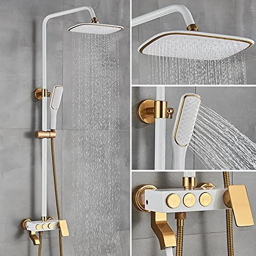 Juego de grifos de ducha blanco/dorado Mezclador de ducha de baño de lluvia Caño giratorio para bañera Sistema de ducha de montaje en pared de baño de una manija-A_White_Golden_