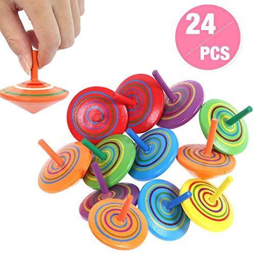 annhao Trottola in Legno, 24 Pezzi Mini Trottola Colorate in Legno Colorati Artigianali Set per Bambini Giocattolo Partito, Compleanno (6 Colore).