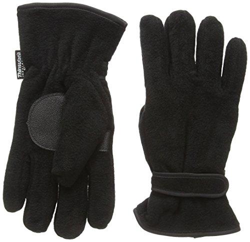 Thermique pour homme Noir Gants en polaire Thinsulate 40 g et Paume antidérapants, Noir, Taille unique