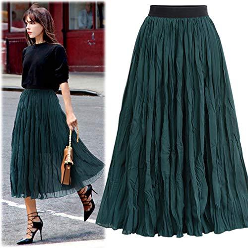 YYH Rok voor dames, zomer, casual, bloemenpatroon, licht, elegant, hoge taille, lange rok X-Large groen