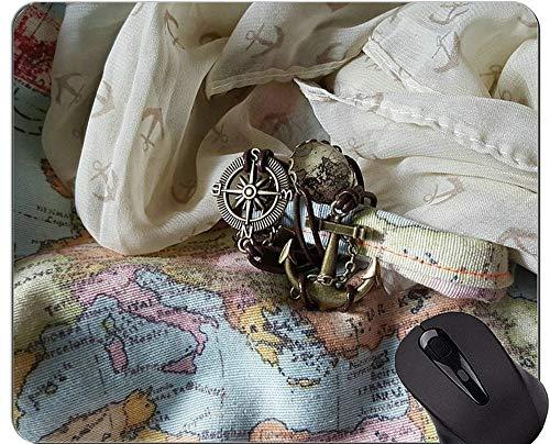 Kompass-Mausunterlage Anti-Rutsch, Hintergrund-alte Karten-Karte der Weltgummimausunterlage