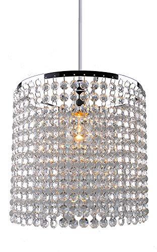 Kristall-Lampenschirm, modern, Chrom, Kronleuchter, Hängelampenschirme, Kristall-Acryl mit klaren achteckigen Perlen, Chromrahmen und klaren Perlen, PS04CLR
