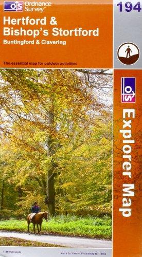 OS Explorer map 194 : Hertford & Bishop's Stortford