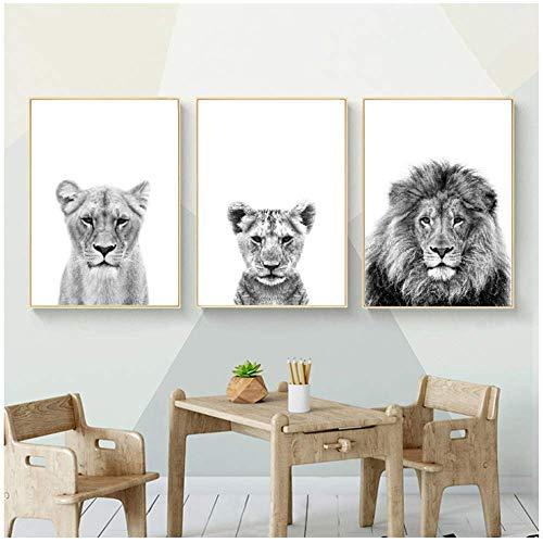 Wanddecoratie Canvas schilderij Leeuwenwelp Print Zwart-witte leeuwin Dieren Posters Safari Kinderkamer Muurdecoratie Babydieren Kinderen 50x70cm (19,7x27,6 inch) x3 Geen lijst