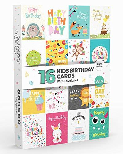 16 Joy Masters™ Geburtstagskarten für KINDER 5. Auflage | Set Für Jungen und Mädchen