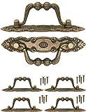 FUXXER® - 4x Antike Möbel-Griffe klappbar, Klapp-Griffe für Schubladen, Truhen, Schränke, Kommoden, Küchen, Antik Bronze Vintage Design 10,5 x 2cm, 4er Set mit Schrauben