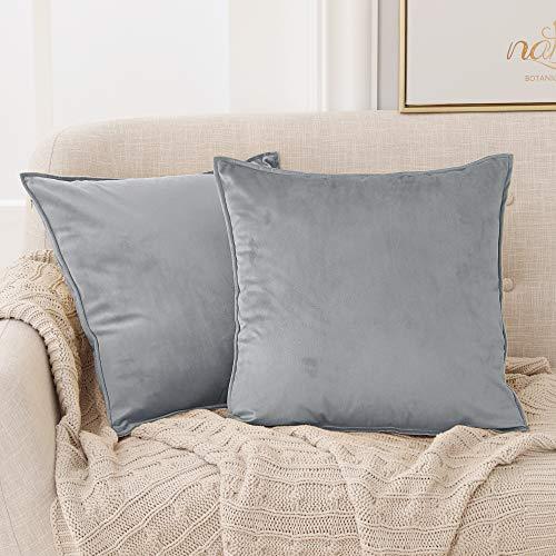 Deconovo Samt Kissenbezug Kissenhülle mit Verstecktem Reißverschluss Wohnzimmer, 40x40 cm, Grau, 2er Set