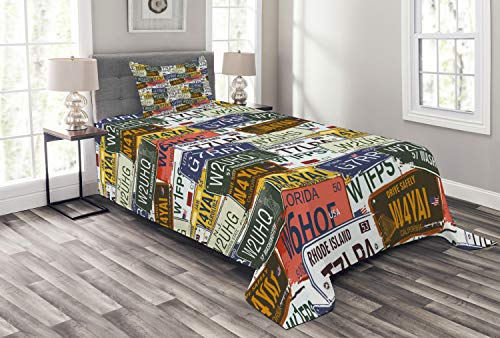 Ambesonne USA Bedspread, Retro American Auto License Plates Utah Washington Rhode Island North Carolina Print, Decorative Quilted 2 Piece Coverlet Set with Pillow Sham, Twin Size, Yellow White