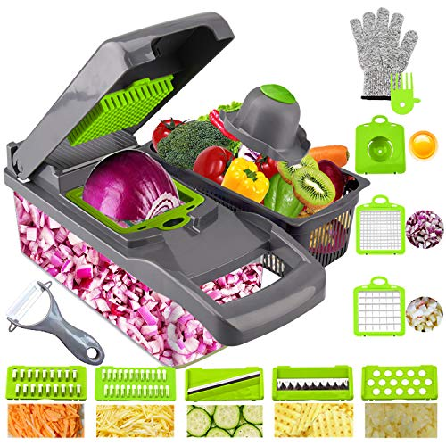 Onion Chopper Swongar Pro Multiple Vegetable Chopper Cheese Grater Durable Fruit Chopper Vegetable Slicer Cutter Dicer Ricer with 8 Blades for Salad Potato Carrot Garlic (grey)