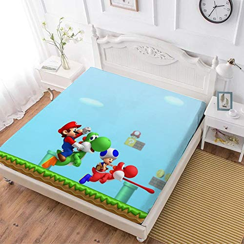 Fitted Sheet,Mario Luigi Yoshi (6),Soft Wrinkle Resistant Microfiber Bedding Set,with All-Round Elastic Deep Pocket, Bed Cover for Kids & Adults,queen (70x80 inch)