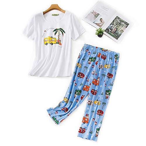 Pijama de Mujer Pijama de Dos Piezas camisón de Verano Traje de casa de Manga Corta Ropa de Dormir de algodón Ropa de Dormir Top y Pantalones para Mujer niña ✅