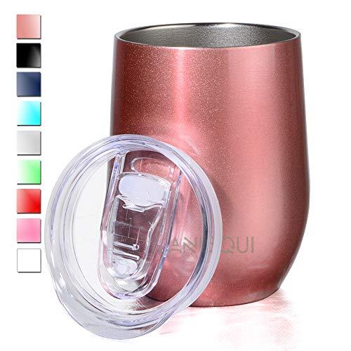 Edelstahl Isolierbecher, Thermo-Becher, (Doppelwandig Vakuumisoliert Wein-Glas to go), Reisebecher mit Deckel für Kaffee, Tee (12oz 350ml)