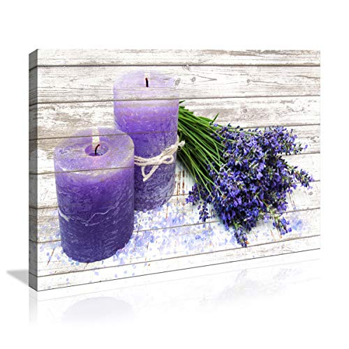 Canvas Wall Art in Purple Candles and Lavender Flower Painting Pictures Print on Canvas Prints Ready to Hang Wall Decor for Living Room Bedroom Decoration Modern Home Decor Artwork for Bathroom