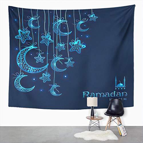 Y·JIANG Tapiz tradicional, lunas azules y estrellas sobre fondo oscuro, tapiz grande decorativo para el hogar, manta ancha para colgar en la pared para sala de estar, dormitorio, 80 x 60 pulgadas