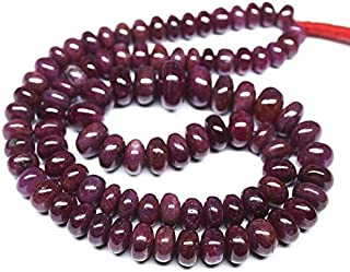 """Jewel Beads Natural Beautiful jewellery Natural Untreated Red Ruby Smooth Gemstone Rondelle Gemstone Loose Craft Beads Strand 18"""" 10mm 7mmCode:- BB-915"""