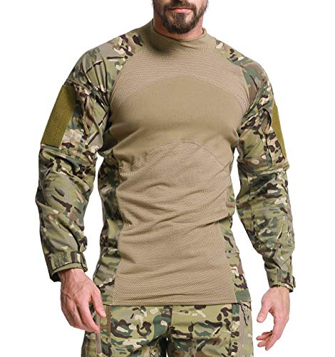 KEFITEVD Herren Taktisch Hemd Langarm Männer Sommer Tactical Shirt Stehkragen Multicam Combat Hemd Militär T-Shirt Slim Fit Oberteil CP L