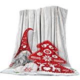 Flannel Blanket Cute Christmas Gnome with Red Xmas Tree Wooden Board Background Throw Blankets Soft Lightweight Bed Blanket Cozy Plush Microfiber Blanket for Sofa Couch Home Decor - Travel 40'x50'