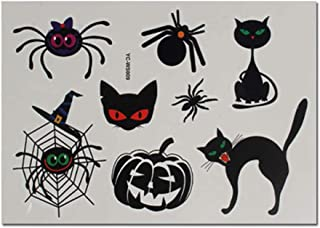 4 Sheets Cartoon Spider Cat Pumpkin Halloween Temporary Tattoo Stickers for Kids Cosplay Costume Party