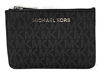 Michael Kors Jet Set Travel Small Top Zip Coin Pouch with ID Holder - PVC Coated Twill  Black with Silver Hardware