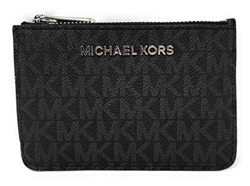 Monogram printed slim PVC coin pouch and ID holder with polished silver tone hardware Zip top compartment with card slip and a tethered split key ring inside Accented with Michael Kors iconic logo on the front Back offers a clear ID slot, (2) card sl...