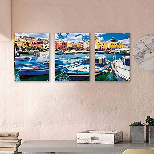 "Italy Hand Painted Paintings Colorful Procida Island with Fishing Boats Summertime Tourism Vacation Travel Theme Waterproof Posters Pictures Paintings Posters for Boys Room Decor, 24""x47""x3 Panels"