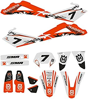 JFG Racing Personalizado Motocicleta Pegatinas Adhesivas Completas Pegatinas gráficos Kit para 2005-2007 Husqvarna SM SMR ...
