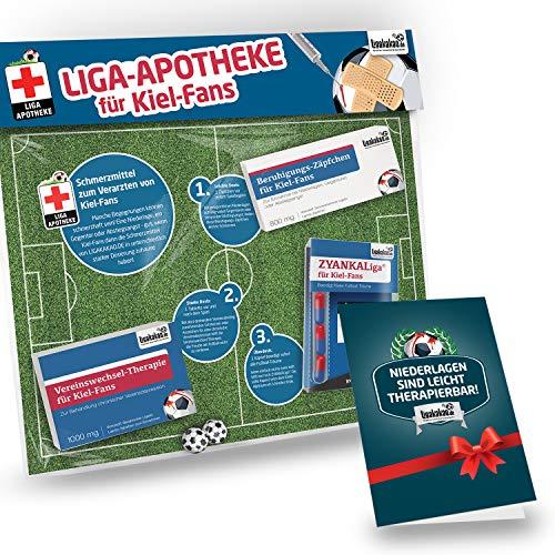 Geschenk-Set: Die Liga-Apotheke für Holstein Kiel-Fans | 3X süße Schmerzmittel für Kiel Fans | Die besten Fanartikel der Liga, Besser als Trikot, Home Away, Saison 18/19 Jersey