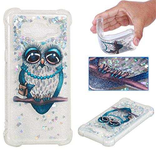 WindTeco Hülle Glitzer für Samsung Galaxy Grand Prime/Galaxy J2 Prime, 3D Eule Muster Bling Flüssigkeit Hülle Diamant Transparent Tasche Kristall Hülle Silikon Handytasche Rückseite Schale Etui