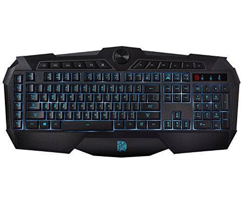 Thermaltake Tt eSPORTS Challenger Prime 3 Color LED Backlighting Anti-Spill Anti-Ghosting Membrane Gaming Keyboard KB-CHM-MBBLUS-01 , Black