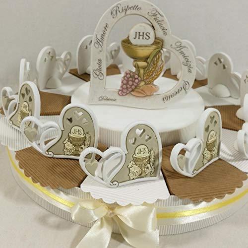 Torta Prima Comunione con Centrale Frasi incise e bomboniere da appoggio SPEDIZIONE Gratuita (Torta da 12 Pezzi)