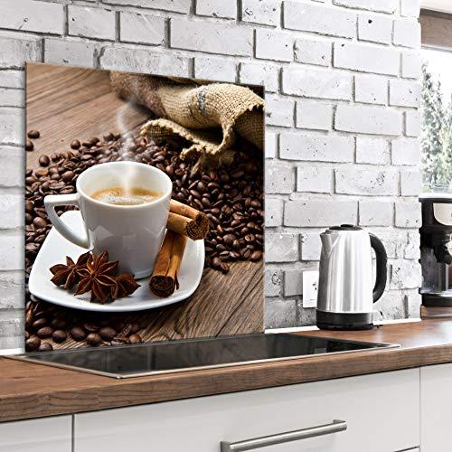 murando Panel de Vidrio para Cocina 80x80 cm Vidriopanel Protector Pantalla Antisalpicaduras Salpicadero con Gráfica Panel Decorativo Motivo Cafe Cafe - j-B-0070-aq-a