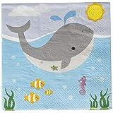 Ginger Ray US-902 海をテーマにした海をテーマにしたキッズバースデーパーティーペーパーナプキン マルチカラー (20枚パック)