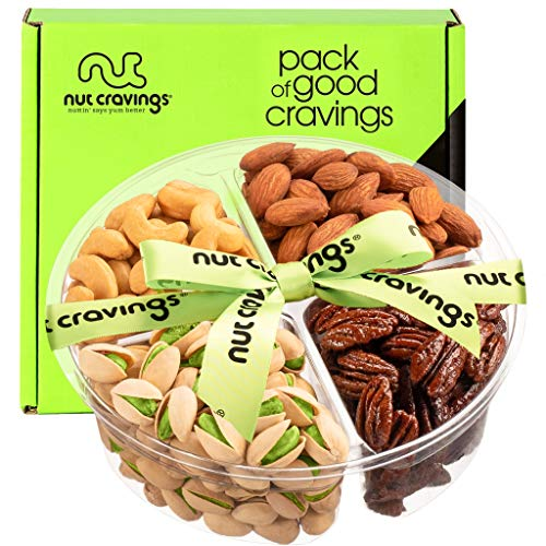 Gourmet Nut Gift Basket, Green Ribbon (4 Mix Tray) - Easter Food Arrangement Platter, Care Package Variety, Prime Birthday Assortment, Healthy Kosher Snack Box for Families, Women, Men, Adults