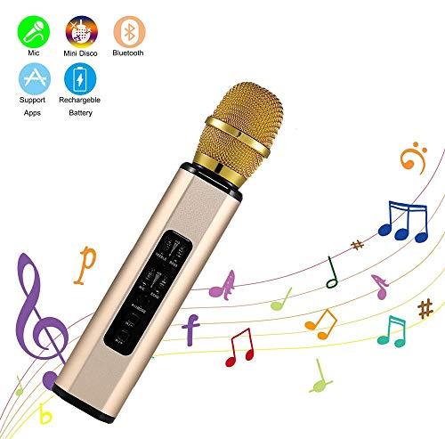 Zeerkeer Microfono Inalámbrico Altavoces,Micrófono Karaoke Bluetooth Portátil Karaoke para Niños Cantar, Función de Eco Compatible con Android/iOS PC