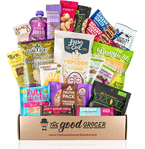 Healthy VEGAN Snacks Care Package: Non-GMO, Vegan Jerky, Protein Bars, Cookies, Fruit & Nuts, Healthy Gift Basket Alternative, Snack Variety Pack, College Student Care Package