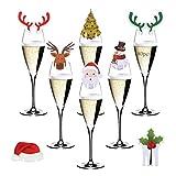 Anyingkai 80pcs Tarjeta de Copa de Vino de Navidad,Mesa de Marcadores de Copa de Navidad,Etiquetas de Navidad para Copas de Vino,Vino Decoraciones Copa Tarjetas